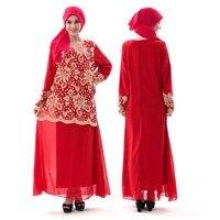 Лето мусульманин платье Винтаж кафтан Абаи Шифоновое Платье макси с длинными рукавами Vestidos