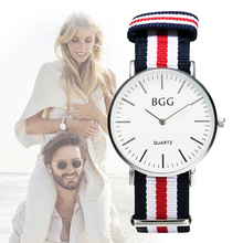 New Brand BGG Geneva Watch Elegant Multicolor Stripe Canvas Fabric Wristwatches Men Women Popular Nylon Watches Relogio Clock