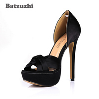 Batzuzhi 14cm Sexy Extreme High Heel Women Shoes Open Toe Black Silk Pump Shoes Designer Sexy Party Platform Pumps Heels
