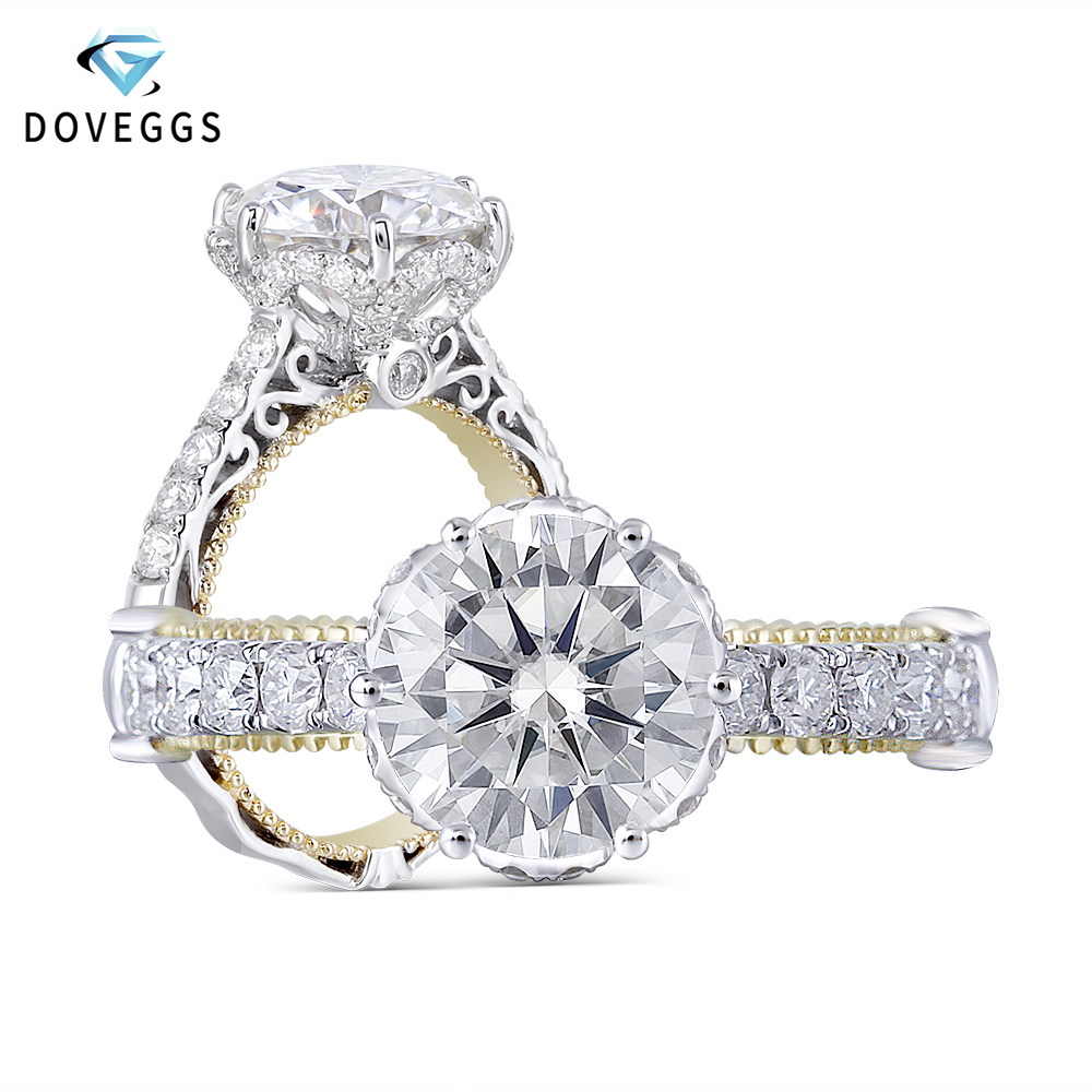 DovEggs Sterling Solid 925 Silver And 14k Yellow Gold 2ct Center 8mm GH Color Moissanite Engagement Ring For Women With Accents