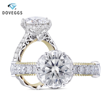 DovEggs sterling solid 925 silver and 14k Yellow Gold 2ct Center 8mm GH Color Moissanite Engagement Ring for Women with Accents цена в Москве и Питере