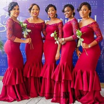 Burgundy Bridesmaid Dresses Long Mermaid Wedding Party Dress Lace Cheap Prom Dresses 2017 Beaded Vestido de Festa de Casamento
