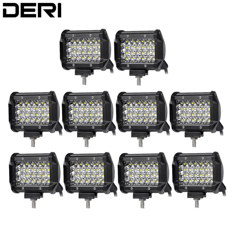10Pcs 4 Inch 24Leds Quad Row LED Work Light Spotlights Offroad Motorcycle For Jeep ATV UTV