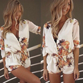 New Summer Jumpsuit 2016 Fashion Women V-Neck Sexy Floral Print Botton Chiffon Rompers Casual Beach Playsuits Overalls