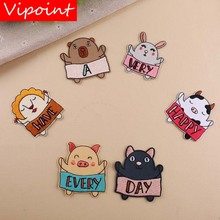 VIPOINT embroidery rabbit pig patches animal badges applique for clothing YX-203