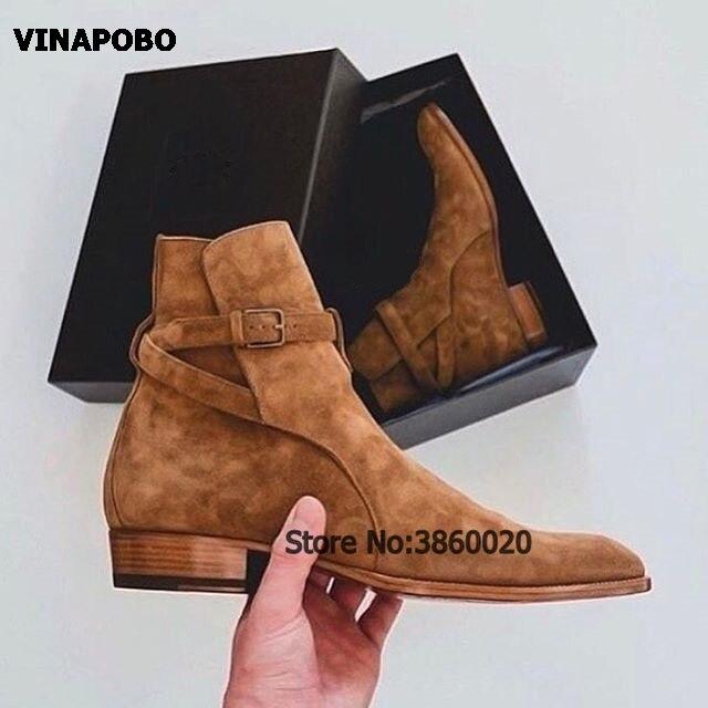 Homem chelsea botas de couro de cowboy fivela tornozelo botas moda tendência de salto baixo vestido de festa sapatos camurça couro masculino botas