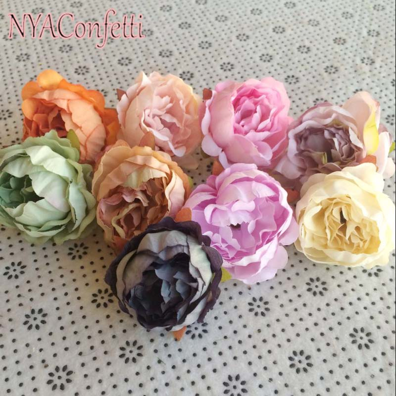 ⓪5CM Head,40PCS Artificial Silk Small Peonies Heads,Real Touch ...