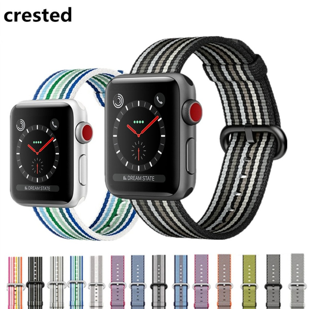 CRESTED Woven nylon strap For Apple Watch band 42mm/38mm iwatch 3 2 1 wrist watch band bracelet replacement nylon watchband woven nylon bands for apple watch band strap 42mm 38mm iwatch serise 3 2 1 nylon wrist band bracelet