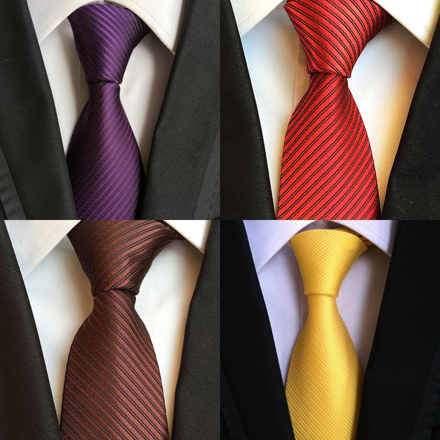 Ricnais Solid Mens Ties Plain Neck Ties 8cm Silk Gravatas Ties For Men Wedding Suit Navy Blue Orange Red Purple Corbatas Hombre
