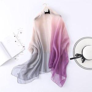 Image 2 - 2020summer silk scarf for women shawls and wraps fashion large size scarves pashmina beach stoles foulard lady echarpe hijabs
