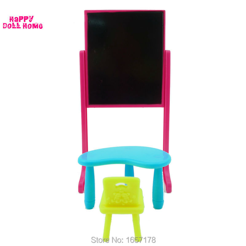 One Set New Arrival Kelly Doll Equipment Style Classing Room Furnishings Desks + Chair +  Blackboard For Barbie Doll Finest Present