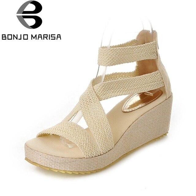 6f536bd9f84231 BONJOMARISA Summer Elegant Cover Heel Women Sandals Big Size 34-43 Breathable  Shoes Woman Comfort Platform High Wedges Footwear