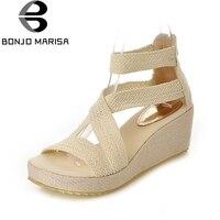 BONJOMARISA Summer Elegant Cover Heel Women Sandals Big Size 34 43 Breathable Shoes Woman Comfort Platform High Wedges Footwear