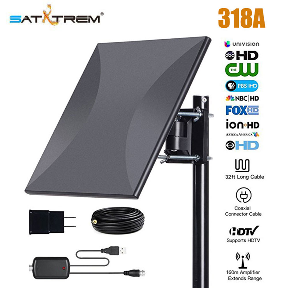 Satxtrem 318A 160 Miles Outdoor Amplified TV Antenna Upgrade Omni Directional HDTV Antenna With 32.8ft Coax Cable For FM/VHF/UHF