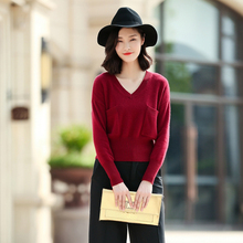 100% cashmere sweaters women's V-neck long sleeve pullovers two pockets knitted short tight waist sweater solid color