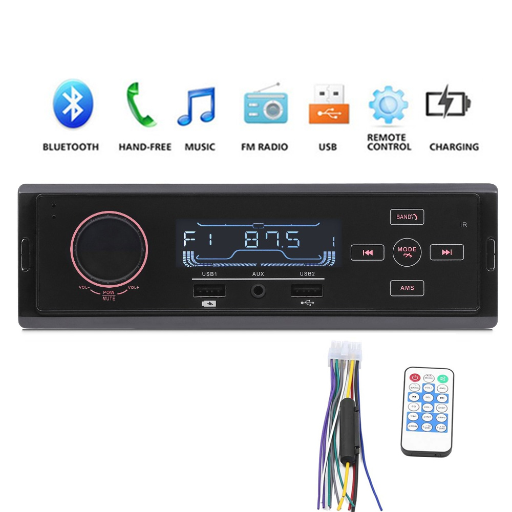 K504 1DIN Stereo Audio Car MP3 music Player Bluetooth FM Radio Tuner USB Charging AUX TF USB Input hand free phone image