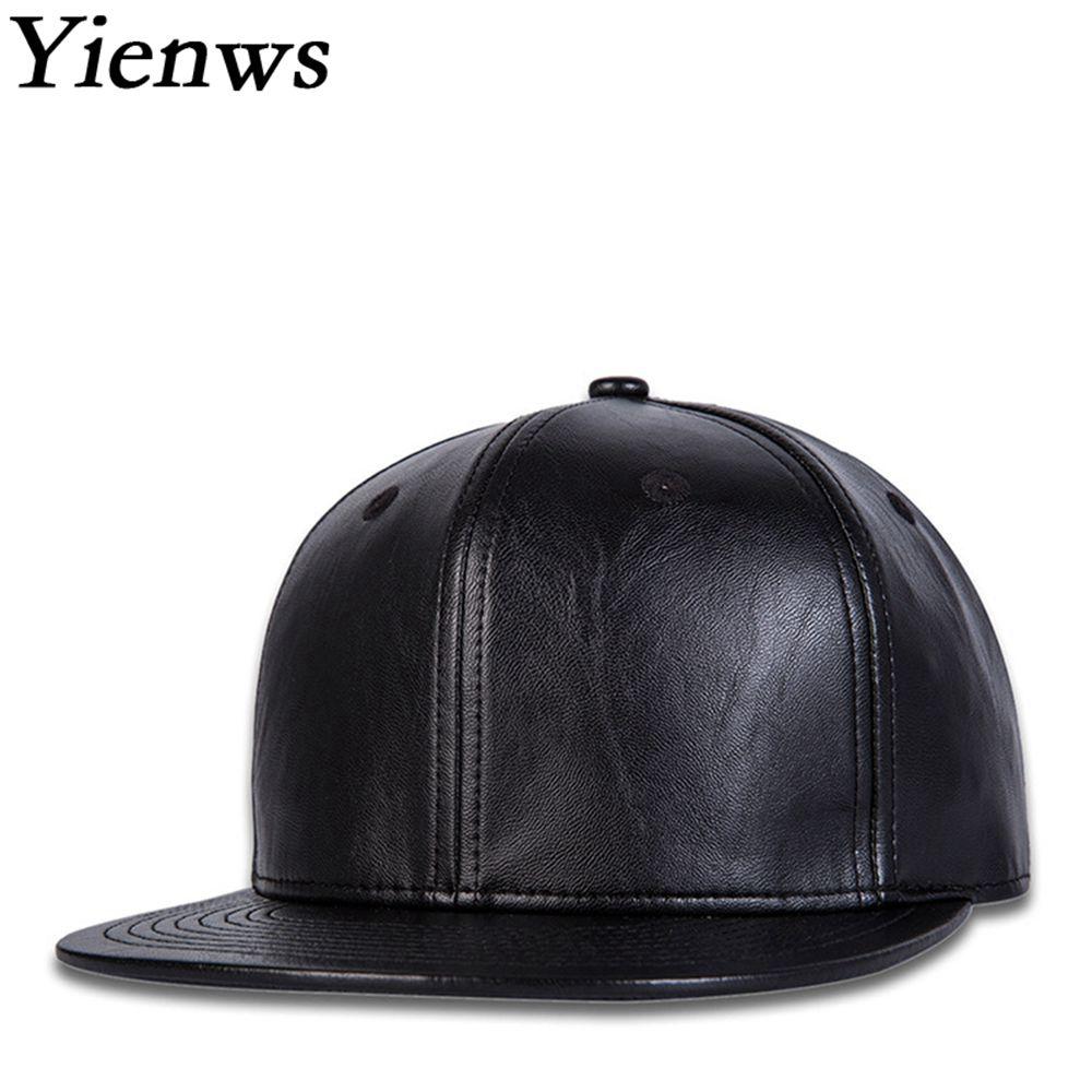 Yienws Bone Gorras Leather Snapback Hip Hop Cap for Men Black Plain Baseball Caps Brim Straight Full Hat Cap Baseball YIC039 yienws vintage jeans curve brim trucker