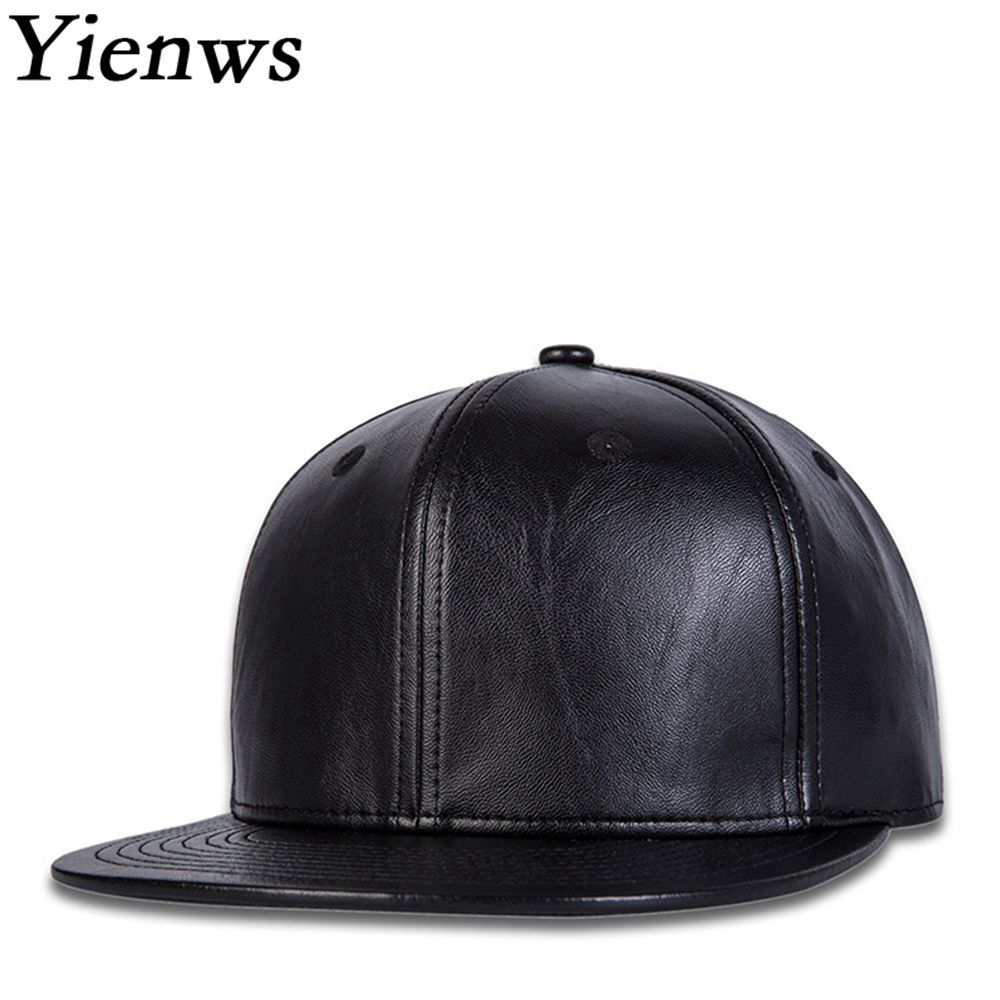 Yienws Bone Gorras Leather Snapback Hip Hop Cap for Men Black Plain Baseball Caps Brim Straight Full Hat Cap Baseball YIC039