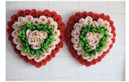 Pack Of 4 Artificial Heart Shaped Rose Bouquet Wedding Plants Flower Silk Roses Wreath And