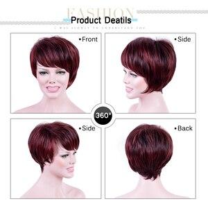 Image 4 - Прямые короткие парики Amir, синтетические волосы, высокотемпературные волосы из волокна, винно красные волосы, искусственные волосы