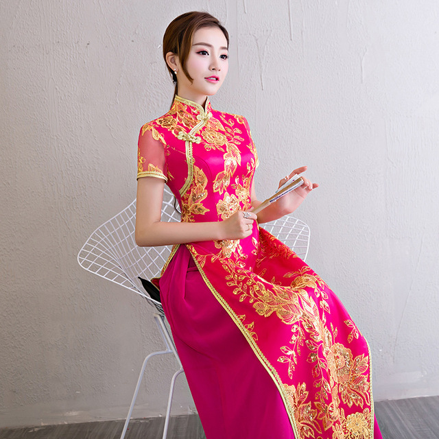 Traditional Vietnam Ao Dai Kleider 2017 Chinese Lace Long Wedding ...