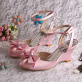 Wedopus Pink Satin Wedding Sandals Wedge Heel for Women with Bows Dropship