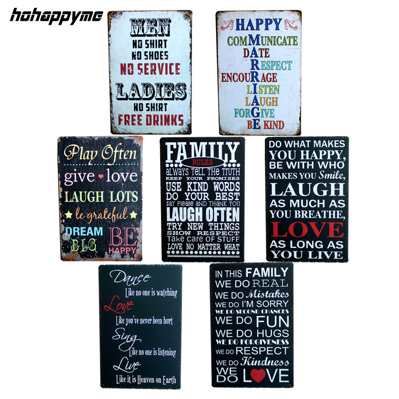 English poetry Romantic Sign 20*30CM Vintage Tin Signs Home Decoration Bar English Poetry Metal Craft Gifts Poster Iron Painting
