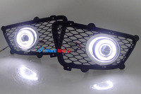 LED DRL daytime running light COB angel eye, projector lens fog lamp with cover for Kia sportage, 2 pcs