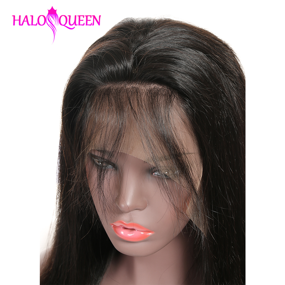 HALOQUEEN Human Hair Wigs Straight Pre Plucked Hairline Baby Hair 8- 28 Inch Remy Human indian Hair Wigs 13X4 Lace Closure Wigs
