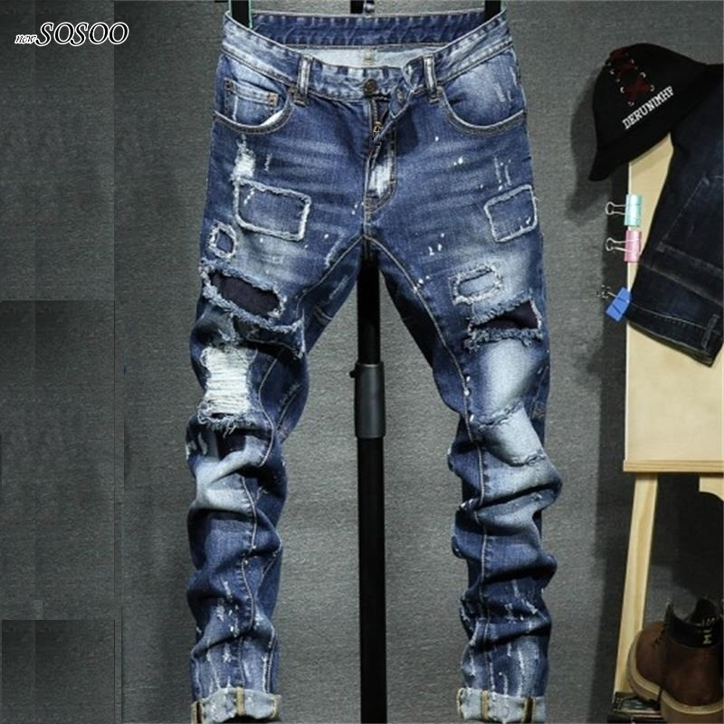 2018 new ripped jeans for men fear of god cotton and denim American and European style fashion jeans men #1712