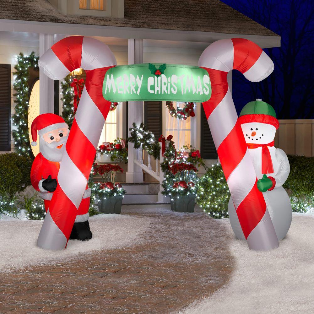Inflatable christmas decorations outdoor cheap - Free Fans Christmas Candy Airblown Inflatable Archway For Decoration Holiday Events