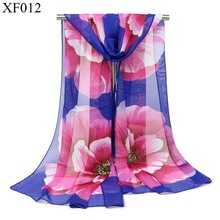 Top New 2017 Summer Scarf Printing Womens Scarves Hijab Foulard Sjaal Luxury Brand Chiffon Silk Scarf Bubble Chiffon Shawl S100