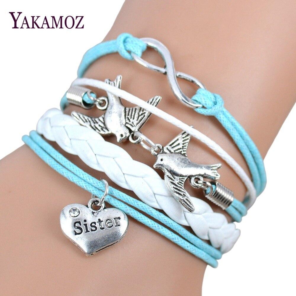 2017 New Fashion Waeve Heart Charm Bracelets For Women Love Best Friend  Bracelets & Bangles Women