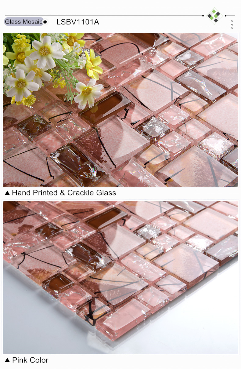 Kristall Eis Knacken Rosa Glas Mosaik Fliesen Küche Backsplash Badezimmer  Wand Dusche TV Badewanne Rückwand Kunst Decortile Aufk.