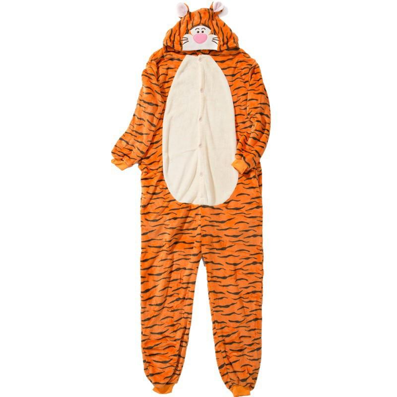 Funny Orange Tiger Animal Kigurumi Flannel Onesie For Women Pajamas Party Bodysuit Cosplay Unisex Sleepwear Halloween Pyjamas