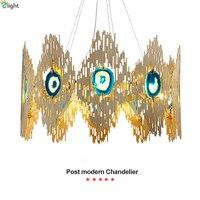 Modern Agate Led Chandeliers Lighting Living Room Gold/Black Metal Led Pendant Chandeliers Lights Dining Room Led Hanging Lamp