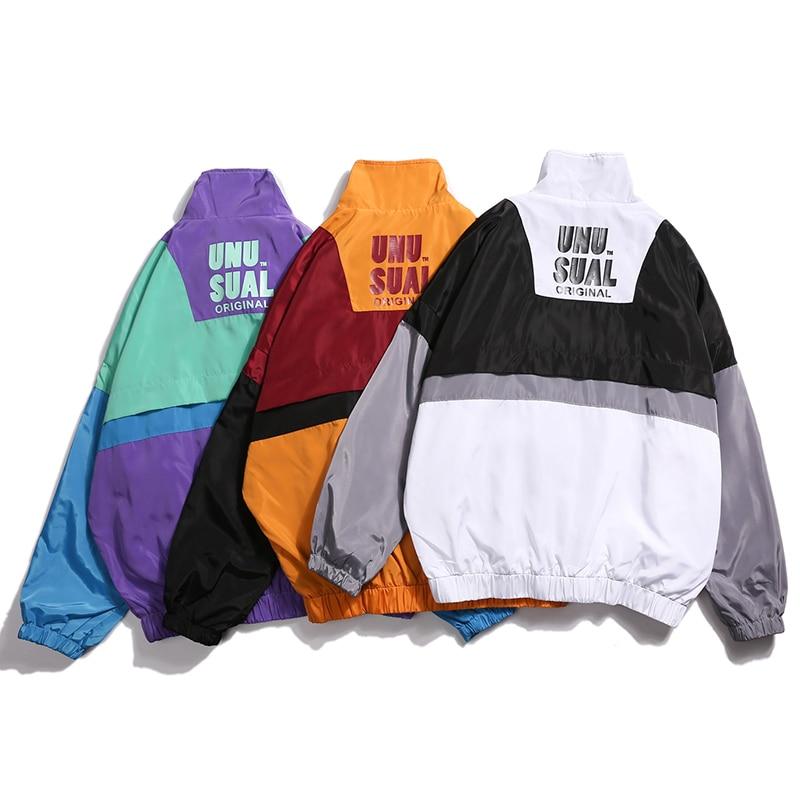 Automne 2018 Hip Hop coupe-vent veste surdimensionné hommes Harajuku couleur bloc veste manteau rétro Vintage Zip piste veste Streetwear - 3