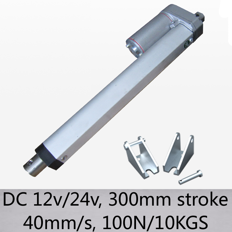 New Arrival high speed 40mm s 300mm stroke dc12v 24v 100N 10kgs push load electric linear