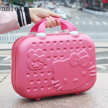 5fb809ee8 Neceser Hello Kitty sra. caso cosmético/maleta maquillaje bolsa de viaje de  negocios/Girl Cartoon maleta/estudiante llevar maleta