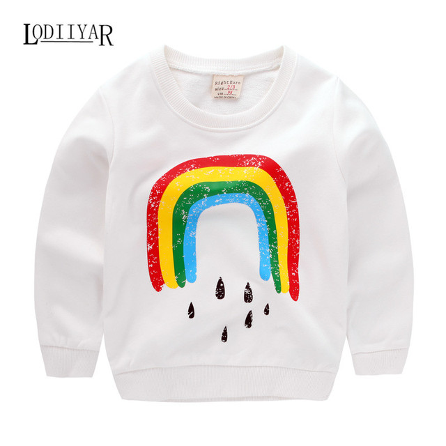Kids Boys Rainbow Printing Cotton Outerwear Pullover Boy Clothes, 201 Casual Long Sleeve T-shir Baby Boys Clothes Autumn Winter