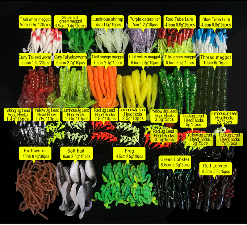 1Set Soft Fishing Lures Mixed Soft Baits Earthworm Maggot Frog Fishing Lure Lead jig head Hooks Kit Set Storage Box Pesca 316Pcs-in Fishing Lures from Sports & Entertainment    3