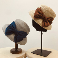 2019 Vintage Elegant Bow Straw Sun Hat Female Hepburn Style Holiday Sunshade Cap hat summer korean women beach hat