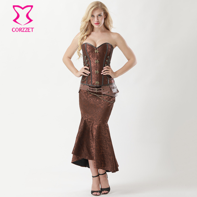 155b1cb17de Vintage Brown Brocade Steampunk Corset Dress Sexy Corsets and Bustiers  Mermaid Skirt Plus Size Burlesque Dresses Gothic Clothing