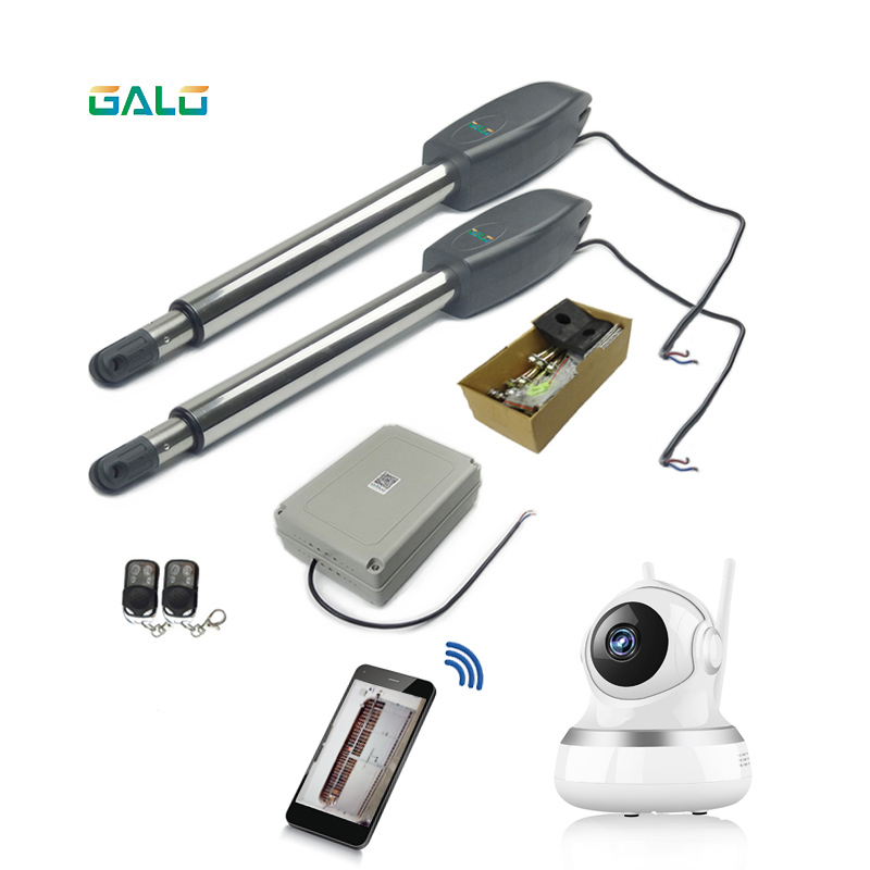 For 400kg Factory's Gate, Heavy Duty Worm Gear Automatic Swing Gate Opener With IP Wifi Camera Monitor Watch On Phone
