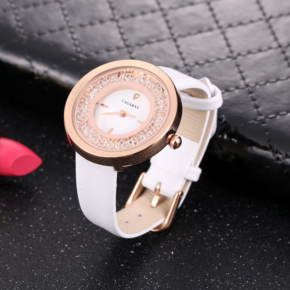 luxury brand quartz watch for women fashion ladies wristwatches rose gold case vogue leather strap with crystal free shipping (17)