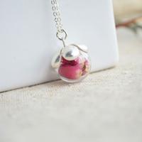 Rote Rose Echte Blume Glas Ball 925 Sterling Silber Kette Aussage Halskette Frauen Halsband Und Weiseweinlese Boho Schmuck Charms