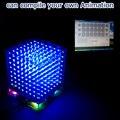 Em estoque! 3D8S Luz mini cubeeds presente KIT DIY LED azul com controle remoto 8x8 8x8 Kits/Júnior