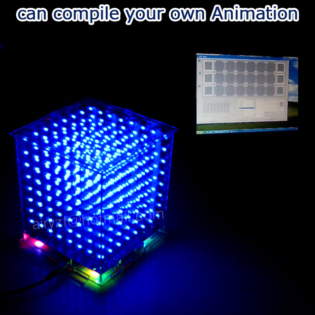 In stock! Gift 3D8S  mini Light cubeeds LED DIY KIT blue with remote 8 8x8x8 Kits/Junior