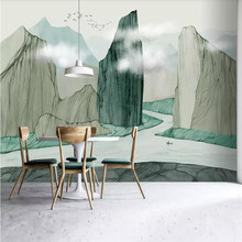 Ink landscape background wall painting professional production wallpaper mural custom photo wallpaper