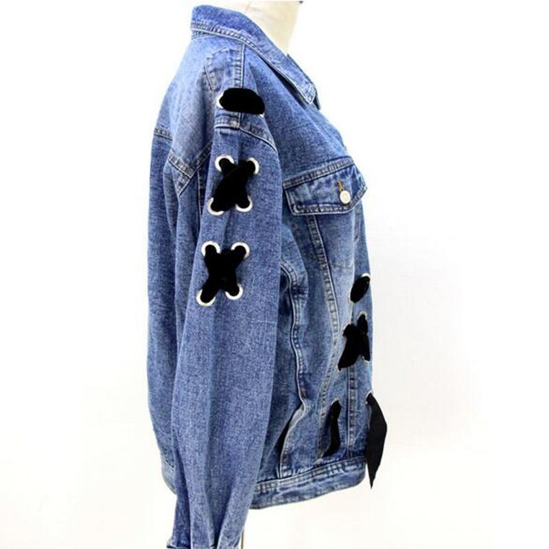 Oversize Donne Femminile A Cappotti Le Giacca Jeans Cappotto Di Croce Nuovo Delle Maniche Arco Per Modo Blue Autunno Chicever Vestiti Lunghe Sciolto Fasciatura YFqxOO